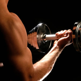 Man lifting free weight, barbell, showing muscles